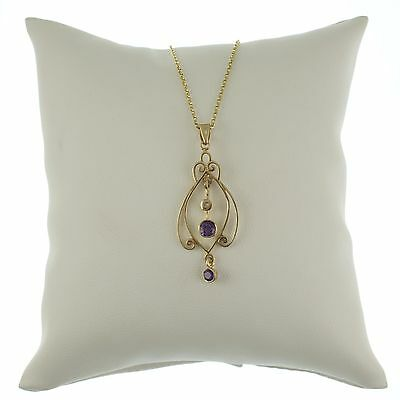 9Ct Gold Art Nouveau Style Amethyst Pendant With Diamond  - Complete With Chain