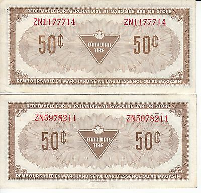 Canada Canadian Tire 50 Cents 1973 ZN  RED and ORANGE Serial Number