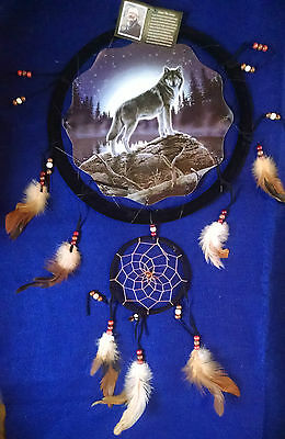 WOLF DREAM CATCHER Picture String Beads Feather