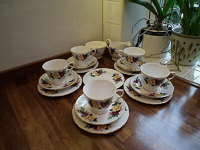 Queen Anne Bone China Red & Yellow Rose Pattern Part Teaset 17 Piece