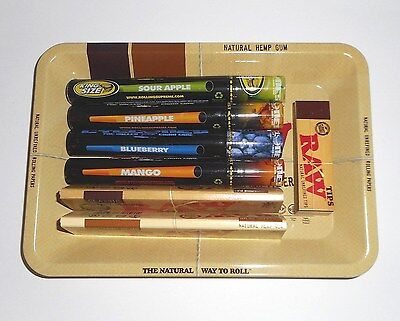 RAW Mini Rolling Tray Gift Set + CYCLONES Pre-Rolled Cones + RAW Tips and Papers