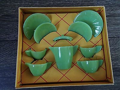 RARE Akro Agate No. 1600 Jade Tea Set - 10pc BOX  - Marbles