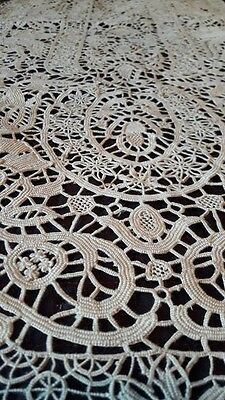 Vintage Handmade Italian Reticella Needle Lace Set of 8 Placemats & Table Runner