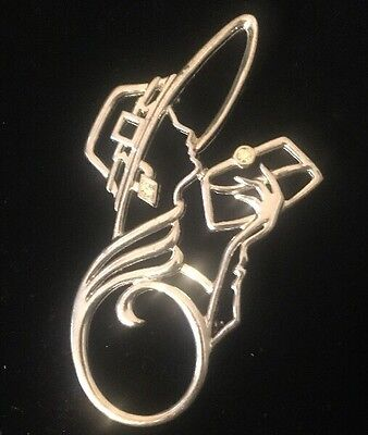 "Vintage Signed JJ ""Silvertone Outlined Deco Lady"" Brooch/Pin AB Stones LR Lady"