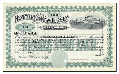 New York and New Jersey Ferry Company Stock Certificate (1890's)