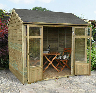 8 x 6ft OUTDOOR WOODEN GARDEN SUMMERHOUSE GLAZED DOUBLE DOORS & OVERLAP CLAD NEW