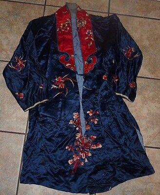 Vintage Antique Chinese Silk Robe Hand Embroidered Florals Flowers Red Navy Blue