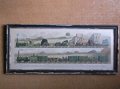 Rare Antique 19C Large Framed Coloured Print Liverpool & Manchester Railway 1831