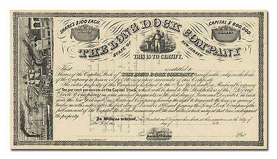Long Dock Company Stock Certificate (New Jersey, 1860's)