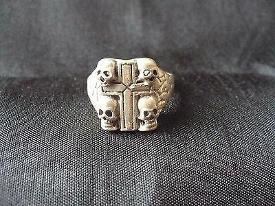 Heavy Metal Men's Skulls Cross Signet Sterling Silver 925 Biker Ring 13g Sz.8