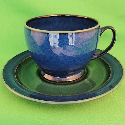 "METZ by Denby Blue & Green Cup & Saucer 3"" tall NEW NEVER USED made in England"