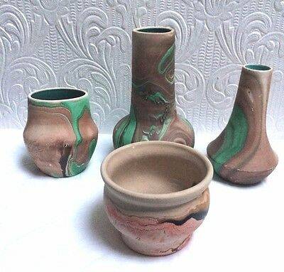Four Vintage Nemadji Garden Of The Gods Hellman Mt. Rushmore Pottery Vases