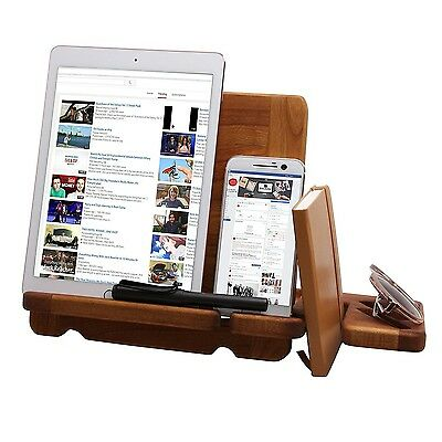 Oak Wood Phone Tablet Charger Docking Station Desk Organizer Watch Wallet Stand