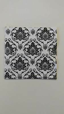 2 Single Cocktail Paper Napkins For Decoupage Collection Black Flower Pattern