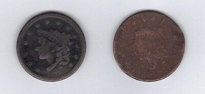 Two coin lot of Large pennies 1848 1C BN Braided Hair Cent/1815?  cull cent