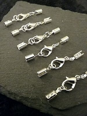 6 sets of 14mm Silver Plated Lobster Clasps & Crimp Ends for 3mm to 3.5mm Cord