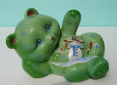 Collectable Fenton Glass Chameleon Waving Bear Snowman Figure