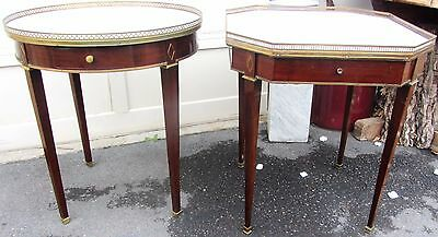 Pair Rare Gorgeous Grosfeld House Hollywood Regency Marble Top Tables
