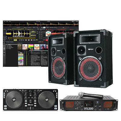 Skytec PK-XENDJ Complete Starter DJ Package with DJ Controller, Speakers and Amp
