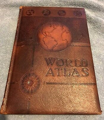 Rand McNally WORLD ATLAS READERS EDITION, 1941 Leather Bound