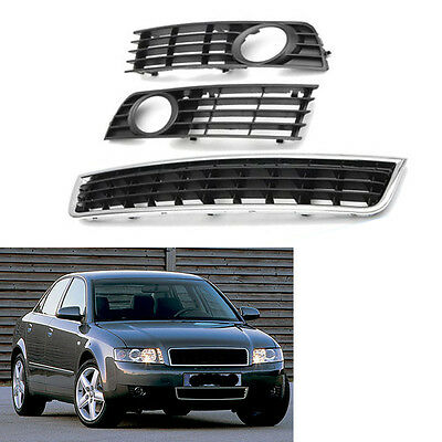 Front Lower Side Bumper Fog Light Center Grille for Audi A4 B6 Sedan 2002-05 03