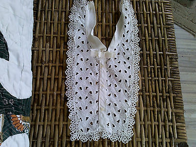 Vintage white eyelet collar/shirtfront with lace edge and bow