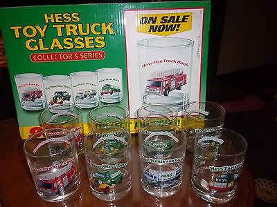 2 NOS Unused Sets of 4 Hess Truck Glasses 1996 Plus Original Standing Counter Si