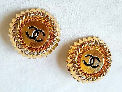 Vintage Signed Authentic Chanel Gold Tone Earrings
