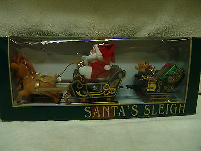 Santa In Sleigh With 2 Reindeer & Sleigh Full Of Toys Motion & Music