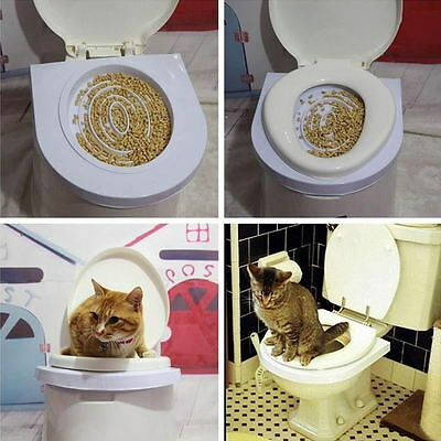 New Creative Portable Cat Toilet Seat Tray Easy Clean Training Kit Supplies