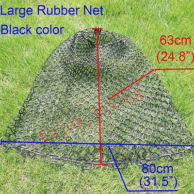 """Large Clear Rubber Fishing Mesh Replacement Landing Net Circumference 63"""" Black"""