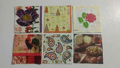 6 Mixed Cocktail Paper Napkins For Decoupage And Collecting Assorted