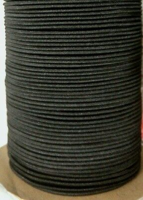 "1/8"" Premium Elastic Bungee Shock Cord BLACK by the Foot 5' & up, Cut lengths."