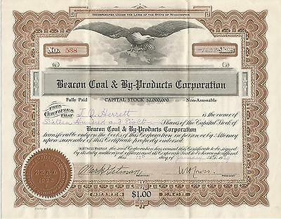 Beacon Coal & By-Products Corporation 1929 1608 Shares Stocks Seattle Wash. With