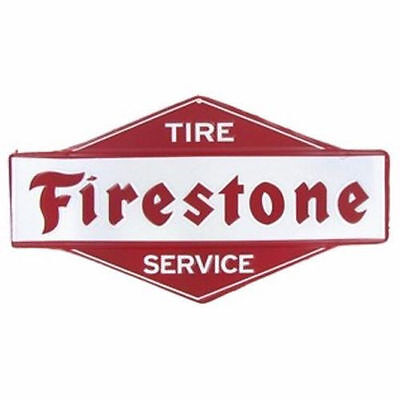 New Collectible Firestone Tire Service Tin Metal sign die cut embossed Garage