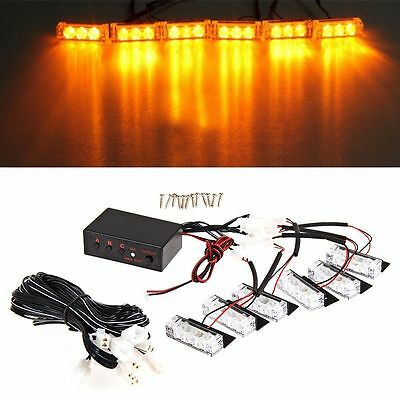 Amber Truck Car 18 LED Lights Strobe Dash Emergency Flashing Warning Lights
