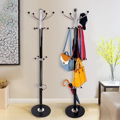 15 Hook Iron Metal Clothes Hat Coat Umbrella Stand Rack Garment Hanger 1.77m