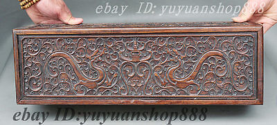 """20"""" Folk Chinese Dynasty Palace Rosewood Wood Hand-carved Dragon Statue Box Case"""