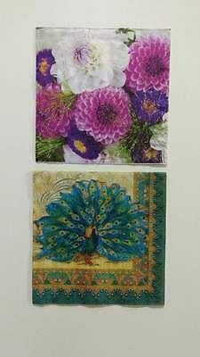 2 Single Paper Napkins For Decoupage Collection Flowers, Peacock