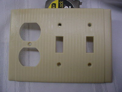 Vintage Art Deco Ivory Bakelite Uniline Toggle 2 Switch Outlet Ribbed Cover H&H