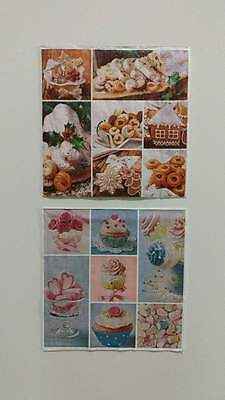 2 Single Paper Napkins For Decoupage Collection Cupcakes, Cookies