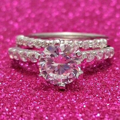.925 Sterling Silver Wedding Set CZ ring Size 5 Engagement Bridal Ladies New w90