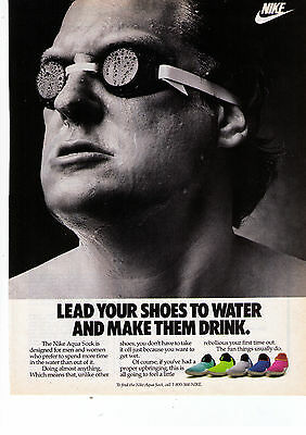 """1988 Nike """"Acqua Sock"""" """"Lead Your Shoes To Water"""" Mens Print Advertisement"""
