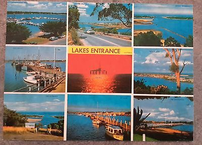 postcard 1970s lakes entrance Victoria Australia oil rig boats wharf highway etc