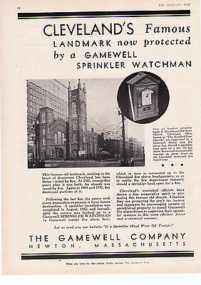 1932 Gamewell Co. 'Cleveland Old Stone Church'  Fire Alarm Print Advertisement