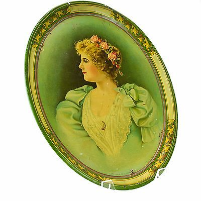 Tuscarora (Early Beach) Lithograph Serving Tin Tray Women Vintage Old Antique