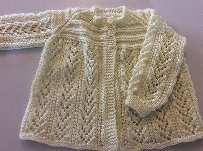hand knitted cardigan size1with matching hat