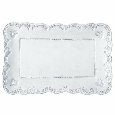 Vietri Incanto Lace Rectangular Platter Plate White Baroque Serving Dish - Italy