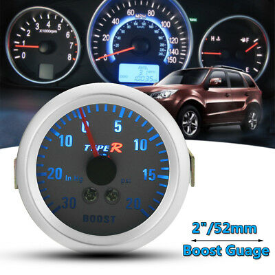"Car 2"" 52mm Turbo Boost Gauge Vacuum Meter 0-20 PSI Blue Light Chrome + Hose AU"