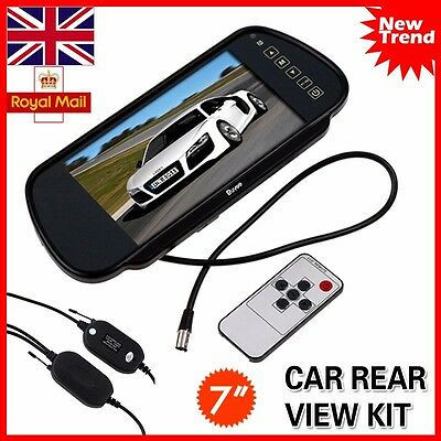"""Wireless 7"""" Lcd Tft Color Mirror Monitor For Car Bus Rearview Reverse Camera"""